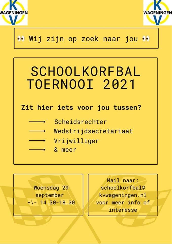 Schoolkorfbaltoernooi 29 september - help jij mee?