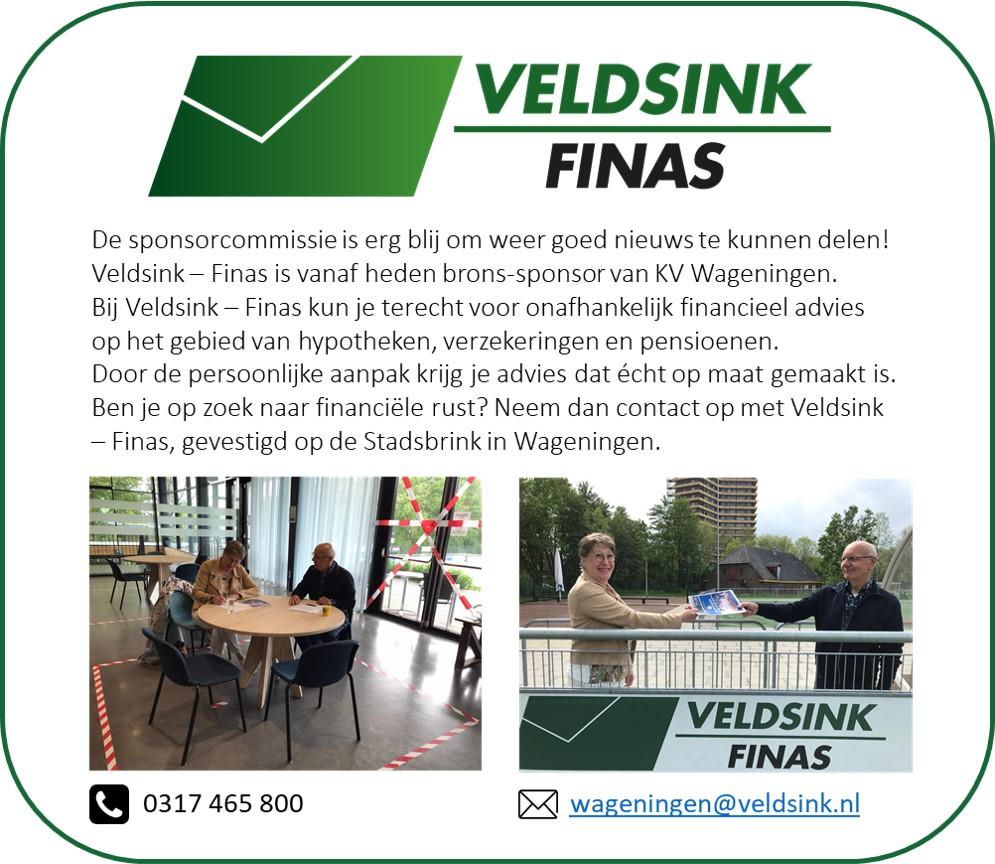 Veldsink - Finas nieuwe sponsor KV Wageningen